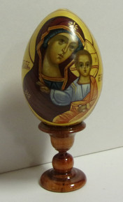 Wooden Theotokos Egg With Stand (2)