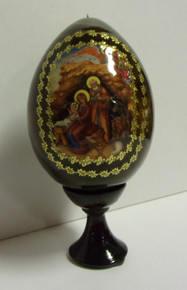 Wooden Nativity Egg With Stand