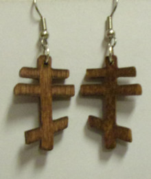 Dark Wood 3-Bar Cross Earrings