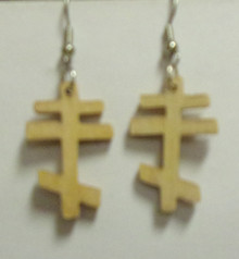 Light Wood 3-Bar Cross Earrings