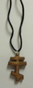Dark Wood 3-Bar Cross Necklace