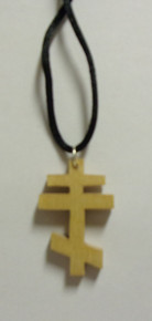 Light Wood 3-Bar Cross Necklace