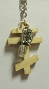 Light Wood 3-Bar Cross Key Chain