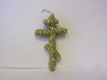 Cross- 3-Bar Cross Made Of Dead Sea Salt Crystals (gold)