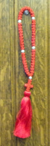 Prayer Rope- Red 50 KLnot Prayer Rope with Silver Beads