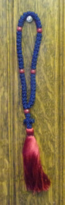 Prayer Rope- Navy Blue 50 Knot Prayer Rope with Red Tassle