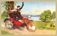 Indian Red Sidecar Motorcycle Postcard