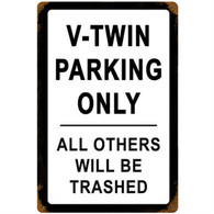 V-Twin Parking Only Motorcycle Metal Sign