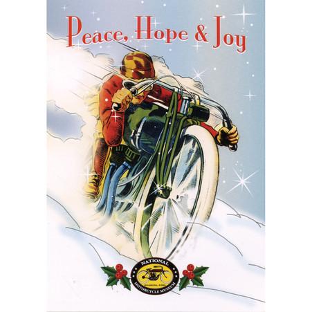 Peace, Hope & Joy Red Racer Christmas Postcard