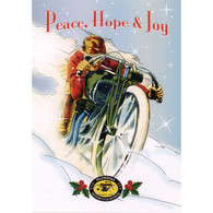Peace, Hope & Joy Red Racer Christmas Postcard
