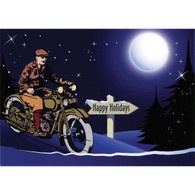 Night Ride Christmas Postcard