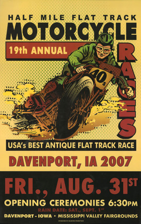 19th Annual 2007 Davenport Motorcycle Races Poster