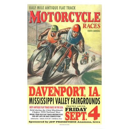 10th Annual 1998 Davenport Motorcycle Races Poster