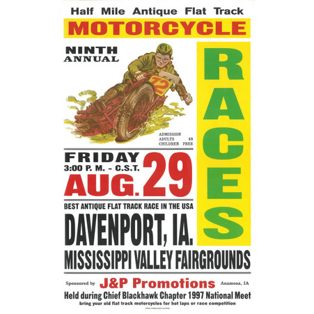 9th Annual 1997 Davenport Motorcycle Races Poster