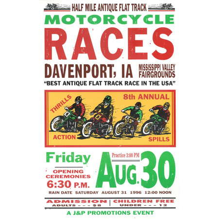 8th Annual 1996 Davenport Motorcycle Races Poster
