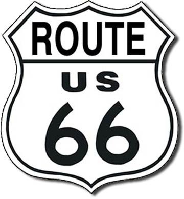 'Route 66' Embossed Metal Sign