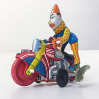 Wind up Clown on Motorcycle Tin Toy