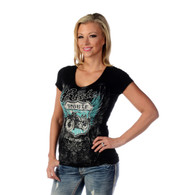 Women's Bikin'Route 66 V-neck Shirt front