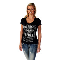 Women's Black American Rebel Short Sleeve V-Neck Shirt front