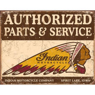 Authorized Parts & Service Indian Motorcycles Tin Sign