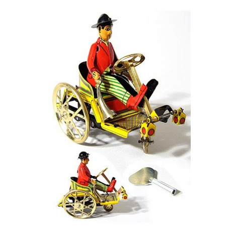 Man on a Trick Cart Wind Up Tin Toy