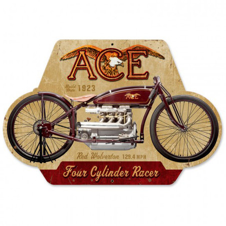 Ace Four Cylinder Racer Metal Sign
