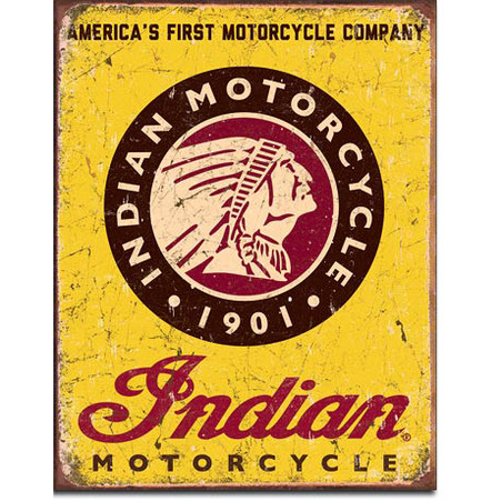 America's First Motorcycle Company - Indian Motorcycle Tin Sign
