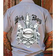 Sick Boy Grey Spark Plug Work Shirt Back