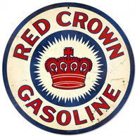 Red Crown Gasoline Round Metal Sign