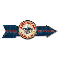 Full Service American Gasoline Arrow Metal Sign