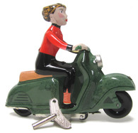 Scooter Girl Green Wind Up Tin Toy side view