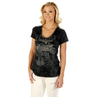 Women's Grey Vintage  Ride Short Sleeve Scoop-Neck Shirt front