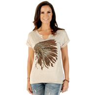 Women's Oat Rhinestone Indian Headdress Shirt front