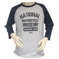 National Motorcycle Museum Baseball Jersey - Navy Sleeves front