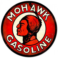 Mohawk Gasoline Round Metal Sign