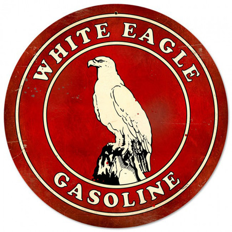 White Eagle Gasoline Round Metal Sign