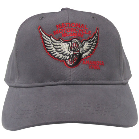 """National Motorcycle Museum """"Winged Wheel"""" Charcoal Cap"""