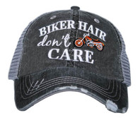 Biker Hair Don't Care Trucker Cap - Orange