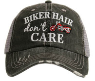 Biker Hair Don't Care Trucker Cap - Red