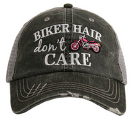 Biker Hair Don't Care Trucker Cap - Pink