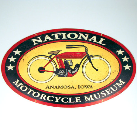National Motorcycle Museum Logo Vintage Look Metal Sign
