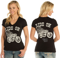Women's Black Ride On Motorcycle Life Shirt