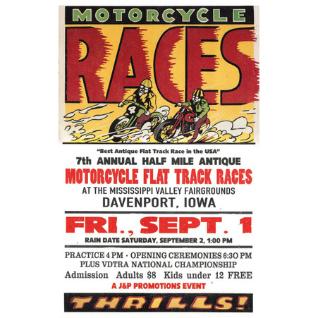 7th Annual 1995 Davenport Motorcycle Races Poster