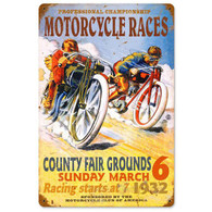 Motorcycle Races 1932 Metal Sign