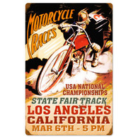 Los Angeles Motorcycle Races Metal Sign