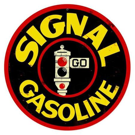 Signal Gasoline Round Metal Sign