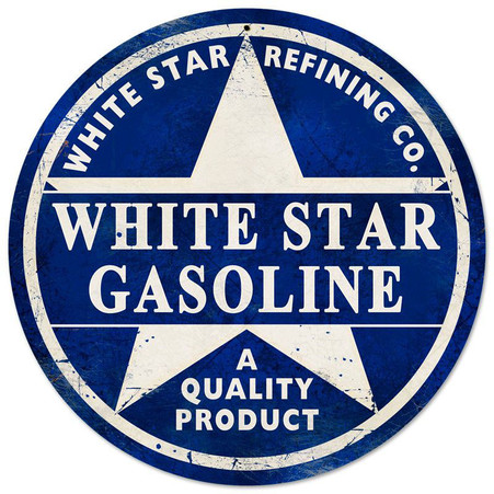 White Star Gasoline Round Metal Sign