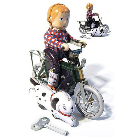 Boy on Bike with Dog Wind Up Tin Toy