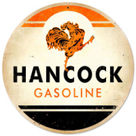 Hancock Gasoline Round Metal Sign