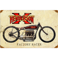 Henderson X Factory Racer Metal Sign